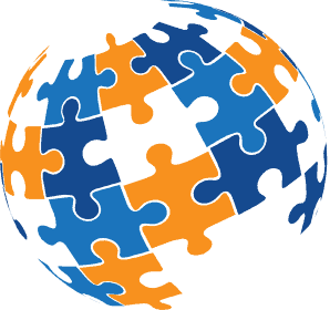 Risk Averse globe with blue and orange puzzle pieces.